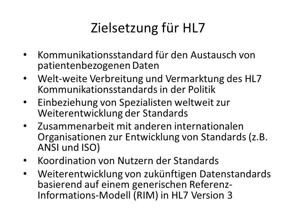 HL7 - Versionen HL-7 V2.x: – Weltweit im Einsatz – Rein syntaktischer Standard HL-7 V3: – In Pilotprojekten – Bedeutungsmodell klinischer Kommunikation – Dokumentenstandard (CDA) – Schnittstelle zu Terminologien / Ontologien – Nutzbarkeit umstritten
