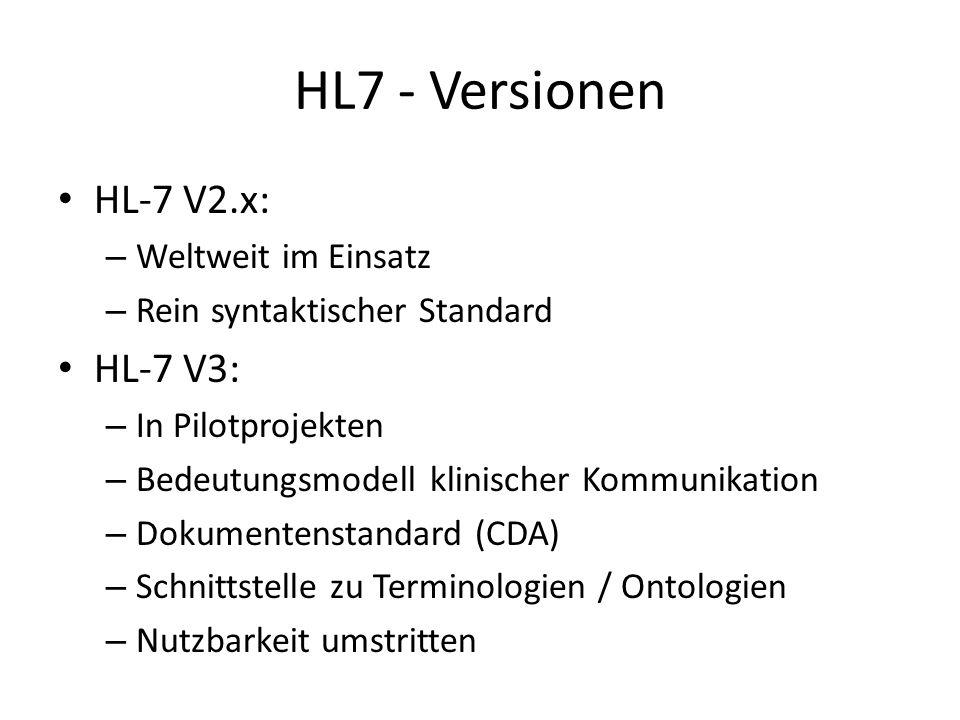 HL7 - Versionen HL-7 V2.x: – Weltweit im Einsatz – Rein syntaktischer Standard HL-7 V3: – In Pilotprojekten – Bedeutungsmodell klinischer Kommunikatio
