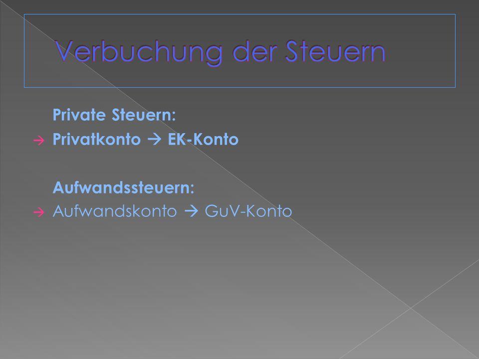 Private Steuern: Privatkonto EK-Konto Aufwandssteuern: Aufwandskonto GuV-Konto