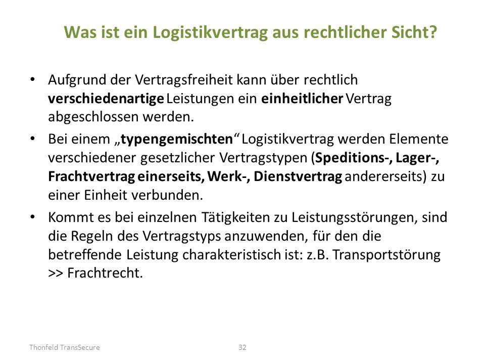 Was ist ein Logistikvertrag aus rechtlicher Sicht? Aufgrund der Vertragsfreiheit kann über rechtlich verschiedenartige Leistungen ein einheitlicher Ve