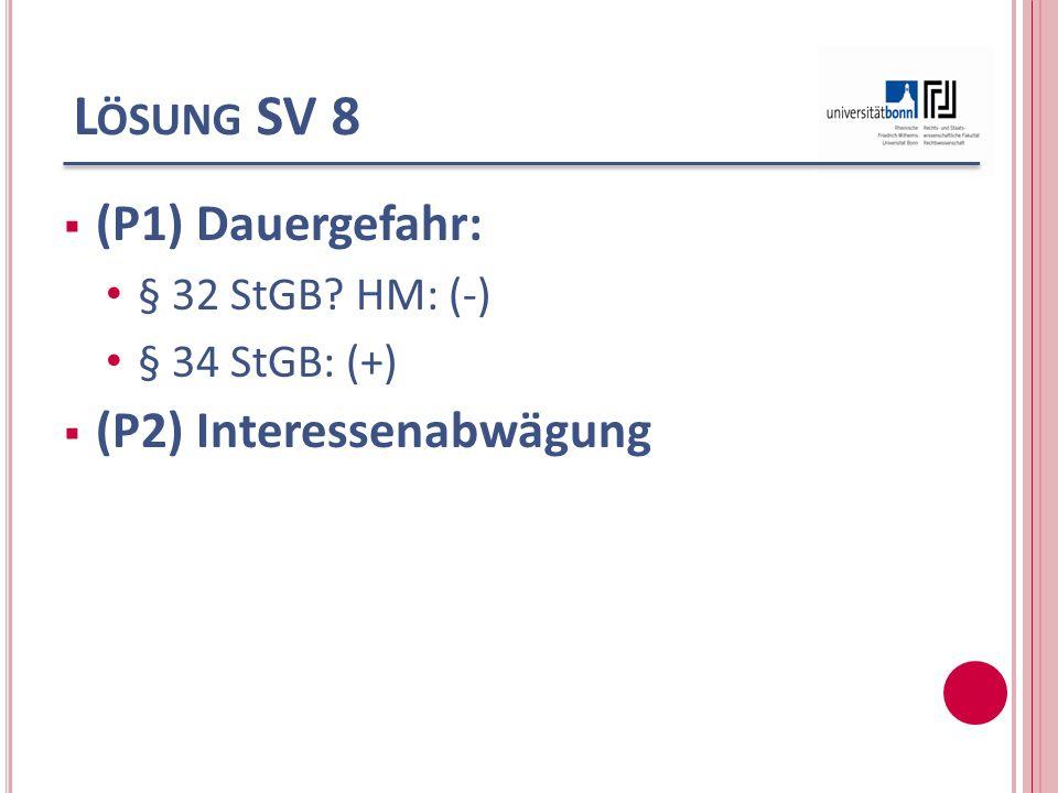 L ÖSUNG SV 8 (P1) Dauergefahr: § 32 StGB? HM: (-) § 34 StGB: (+) (P2) Interessenabwägung