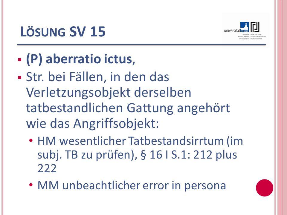 L ÖSUNG SV 15 (P) aberratio ictus, Str. bei Fällen, in den das Verletzungsobjekt derselben tatbestandlichen Gattung angehört wie das Angriffsobjekt: H