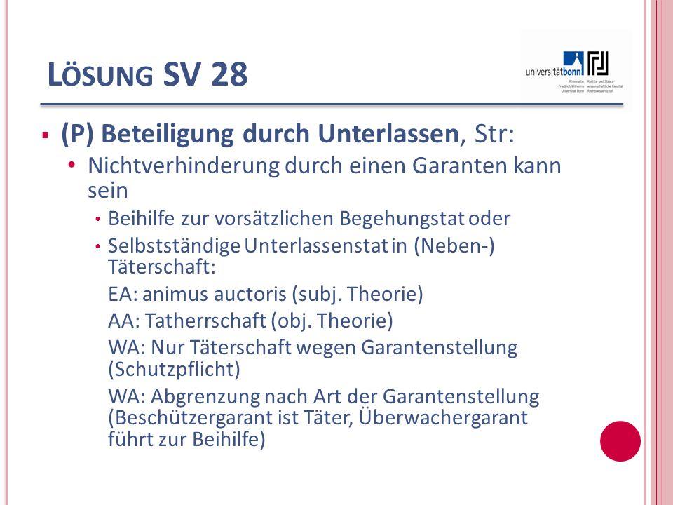 L ÖSUNG SV 28 (P) Beteiligung durch Unterlassen, Str: Nichtverhinderung durch einen Garanten kann sein Beihilfe zur vorsätzlichen Begehungstat oder Se