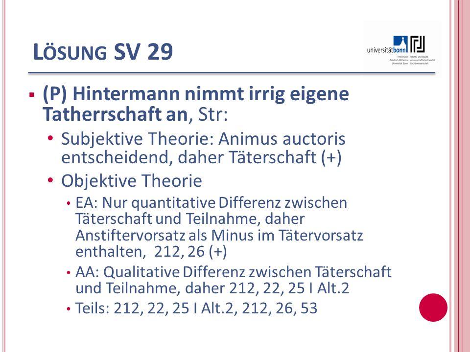 L ÖSUNG SV 29 (P) Hintermann nimmt irrig eigene Tatherrschaft an, Str: Subjektive Theorie: Animus auctoris entscheidend, daher Täterschaft (+) Objekti