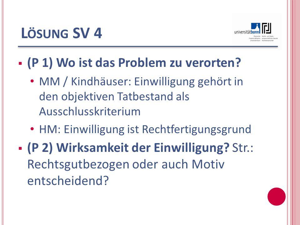 L ÖSUNG SV 4 (P 1) Wo ist das Problem zu verorten? MM / Kindhäuser: Einwilligung gehört in den objektiven Tatbestand als Ausschlusskriterium HM: Einwi