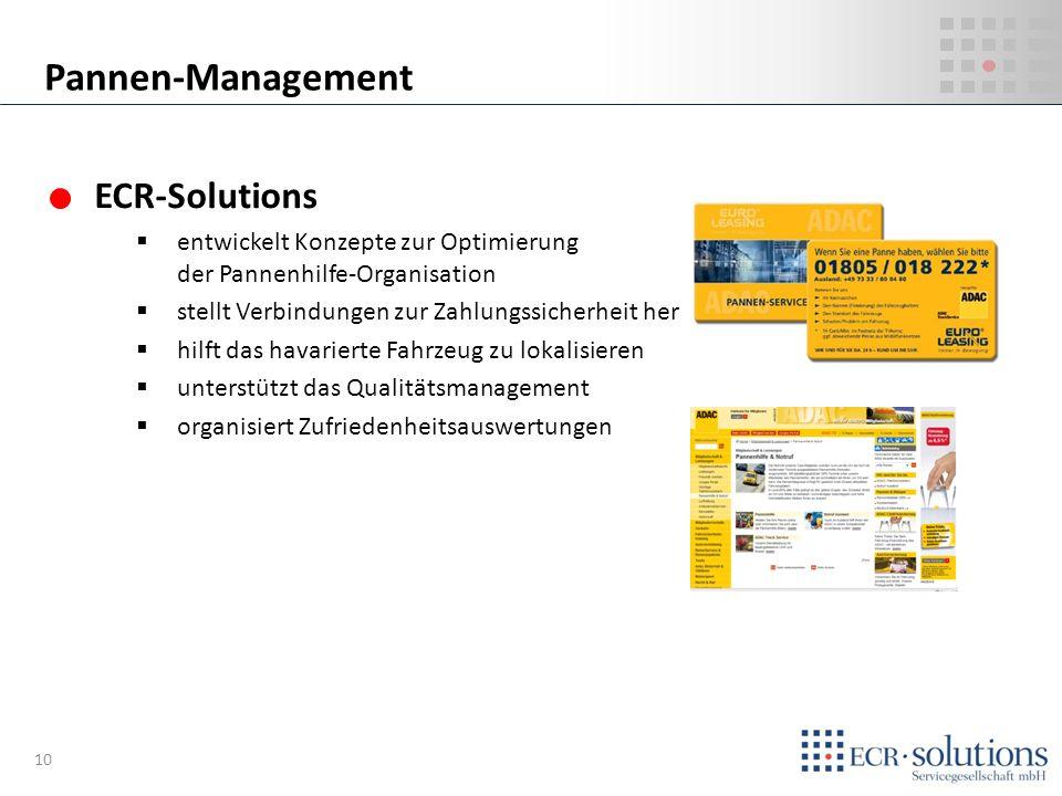ECR-Solutions entwickelt Konzepte zur Optimierung der Pannenhilfe-Organisation stellt Verbindungen zur Zahlungssicherheit her hilft das havarierte Fah