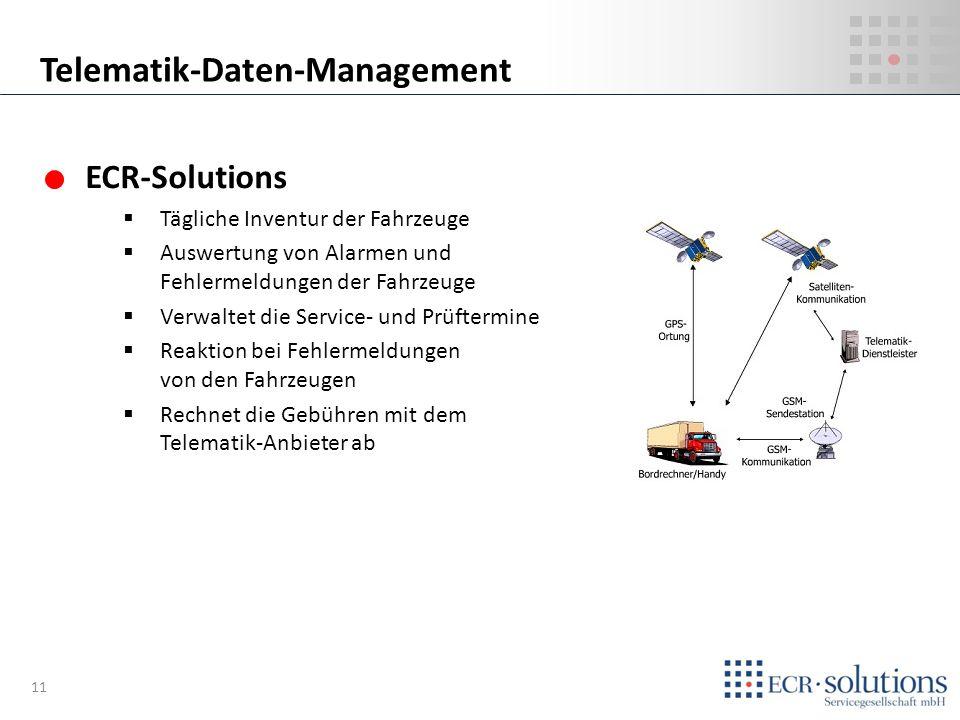 ECR-Solutions Tägliche Inventur der Fahrzeuge Auswertung von Alarmen und Fehlermeldungen der Fahrzeuge Verwaltet die Service- und Prüftermine Reaktion