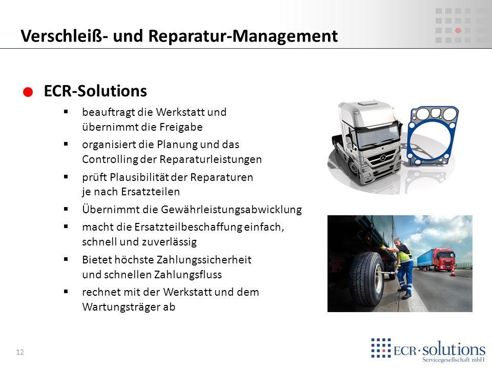 ECR-Solutions beauftragt die Werkstatt und übernimmt die Freigabe organisiert die Planung und das Controlling der Reparaturleistungen prüft Plausibili