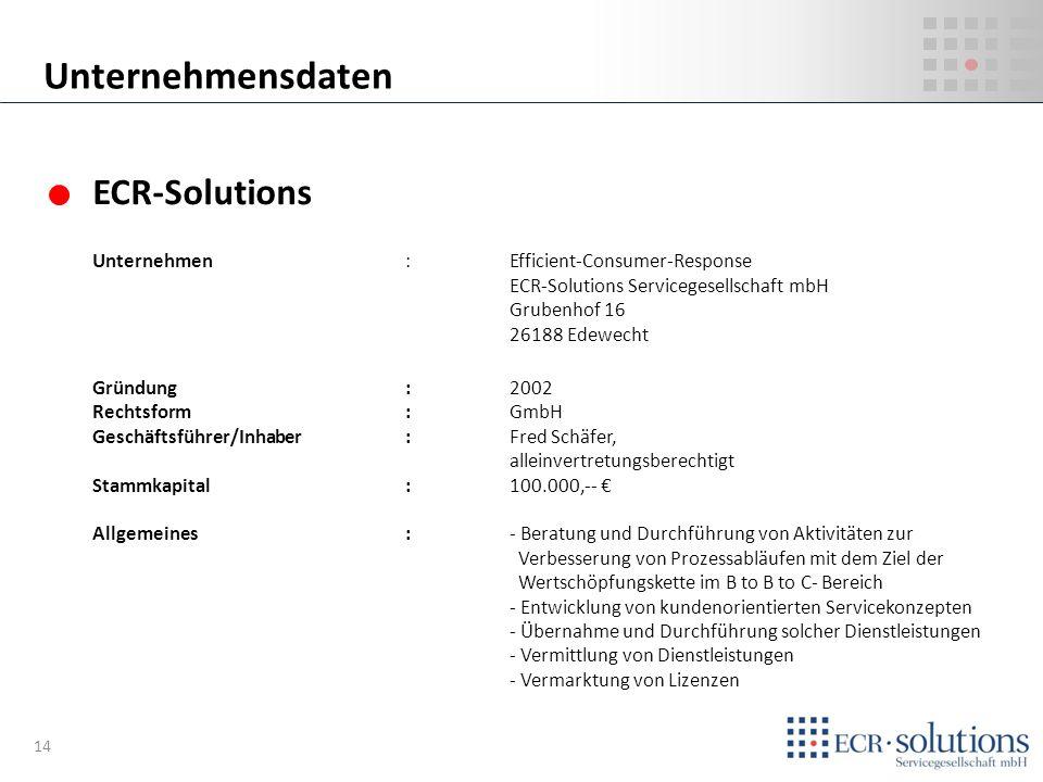ECR-Solutions Unternehmen:Efficient-Consumer-Response ECR-Solutions Servicegesellschaft mbH Grubenhof 16 26188 Edewecht Gründung :2002 Rechtsform:GmbH
