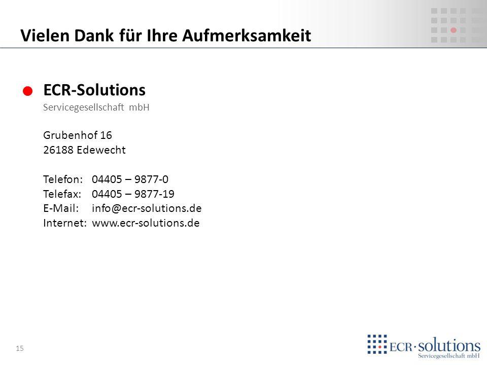 ECR-Solutions Servicegesellschaft mbH Grubenhof 16 26188 Edewecht Telefon:04405 – 9877-0 Telefax: 04405 – 9877-19 E-Mail: info@ecr-solutions.de Intern