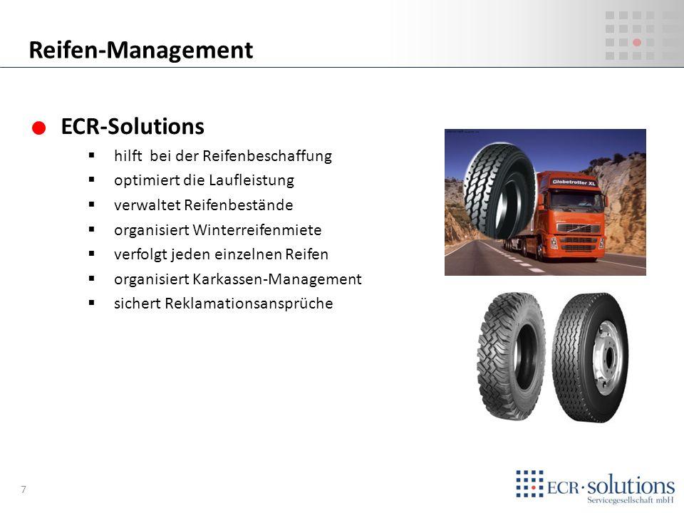 ECR-Solutions hilft bei der Reifenbeschaffung optimiert die Laufleistung verwaltet Reifenbestände organisiert Winterreifenmiete verfolgt jeden einzeln