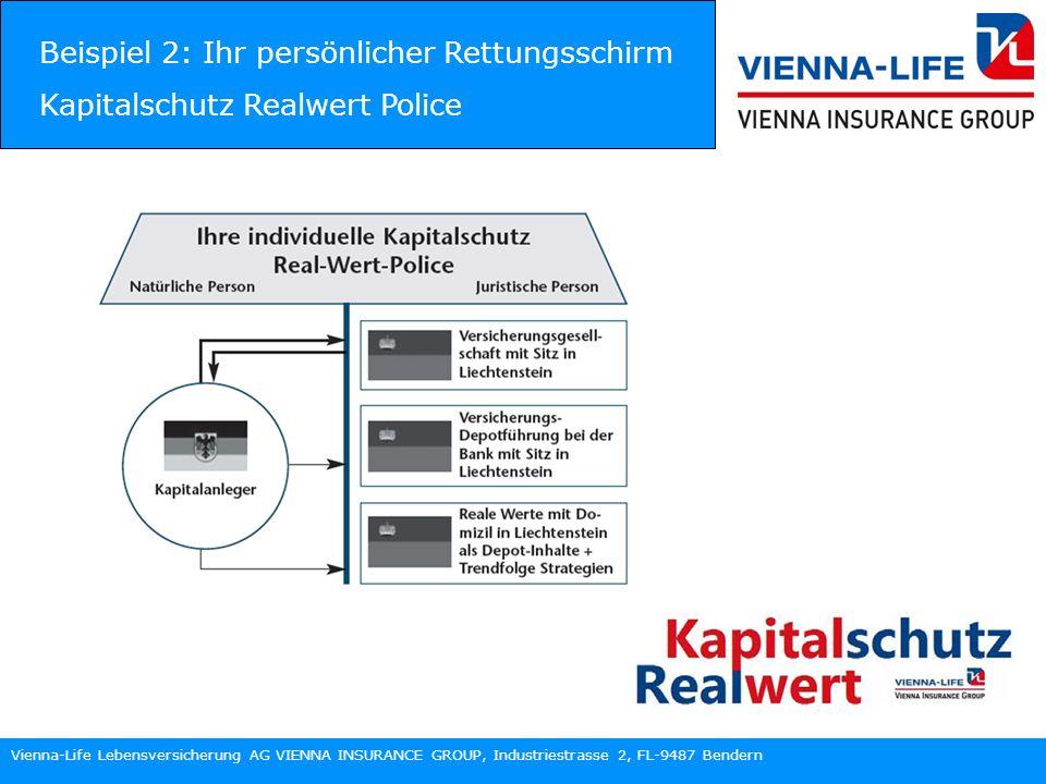 Vienna-Life Lebensversicherung AG VIENNA INSURANCE GROUP, Industriestrasse 2, FL-9487 Bendern Beispiel 2: Ihr persönlicher Rettungsschirm Kapitalschutz Realwert Police