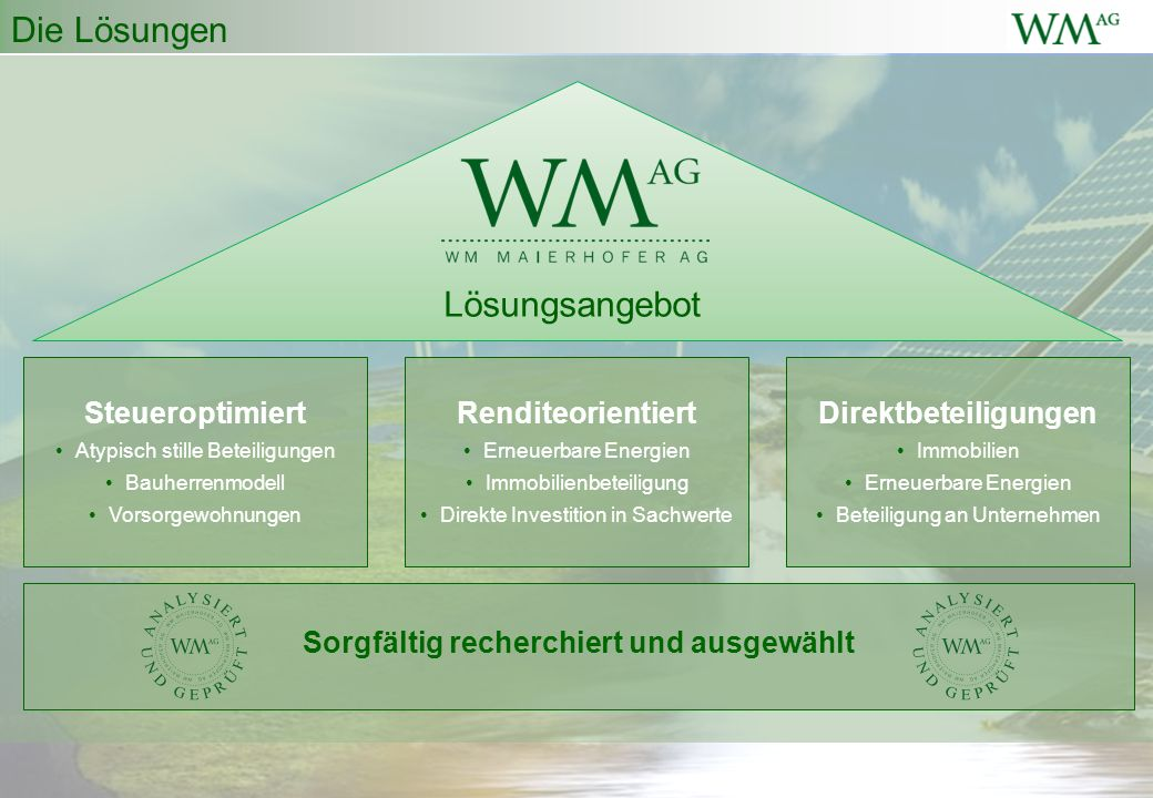 Die Lösungen Steueroptimiert Atypisch stille Beteiligungen Bauherrenmodell Vorsorgewohnungen Renditeorientiert Erneuerbare Energien Immobilienbeteiligung Direkte Investition in Sachwerte Direktbeteiligungen Immobilien Erneuerbare Energien Beteiligung an Unternehmen Sorgfältig recherchiert und ausgewählt Lösungsangebot