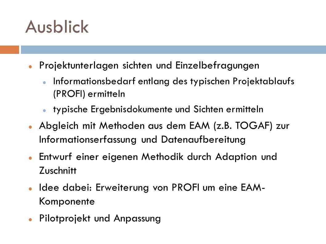 Ausblick Projektunterlagen sichten und Einzelbefragungen Informationsbedarf entlang des typischen Projektablaufs (PROFI) ermitteln typische Ergebnisdo
