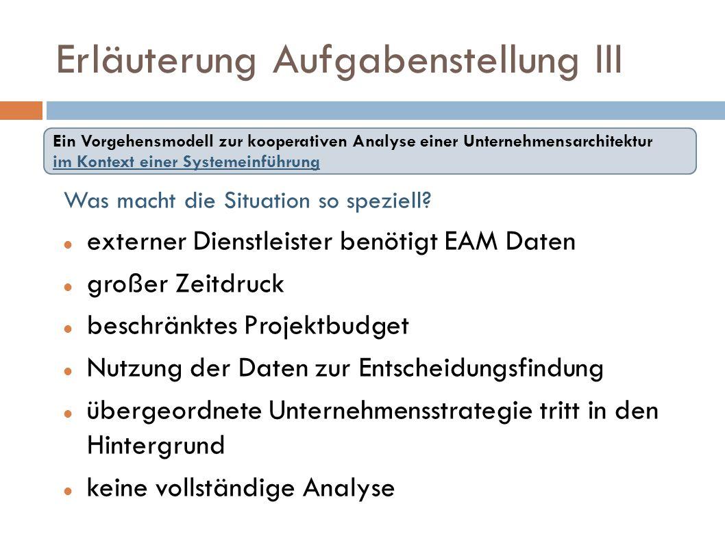 Erläuterung Aufgabenstellung III Was macht die Situation so speziell? externer Dienstleister benötigt EAM Daten großer Zeitdruck beschränktes Projektb
