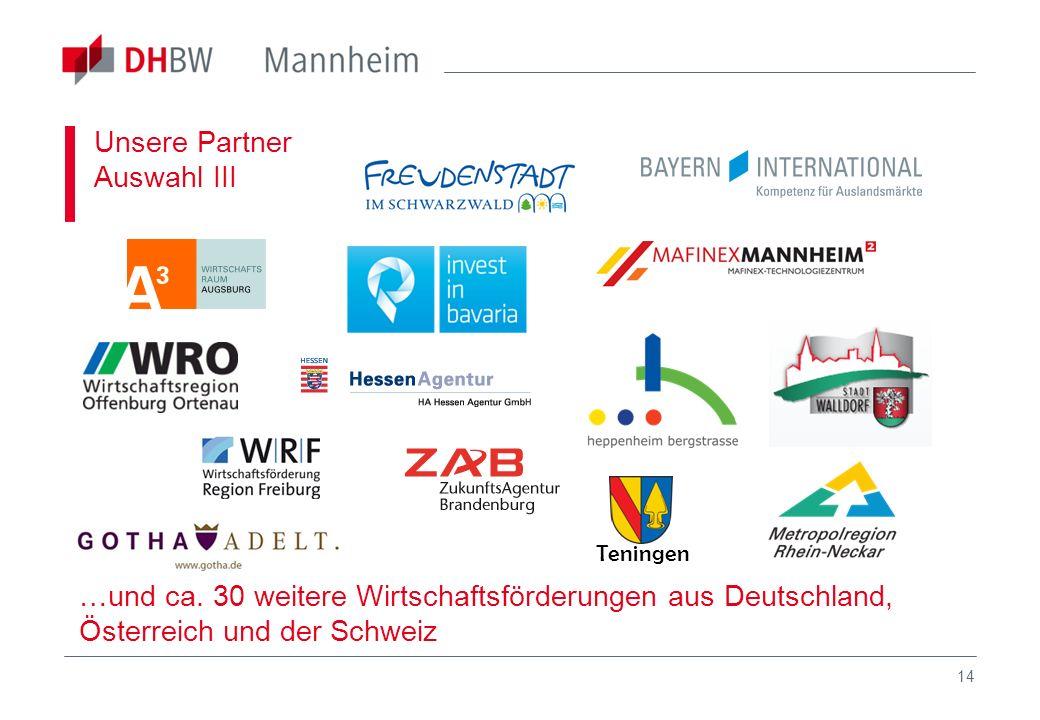 14 Unsere Partner Auswahl III …und ca. 30 weitere Wirtschaftsförderungen aus Deutschland, Österreich und der Schweiz Teningen