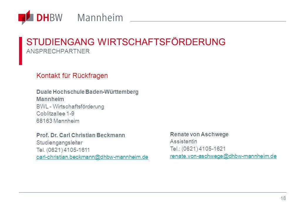 18 STUDIENGANG WIRTSCHAFTSFÖRDERUNG ANSPRECHPARTNER Kontakt für Rückfragen Duale Hochschule Baden-Württemberg Mannheim BWL - Wirtschaftsförderung Cobl