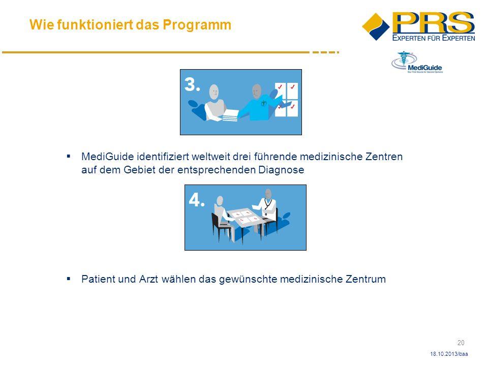 20 18.10.2013/baa MediGuide identifiziert weltweit drei führende medizinische Zentren auf dem Gebiet der entsprechenden Diagnose Patient und Arzt wähl