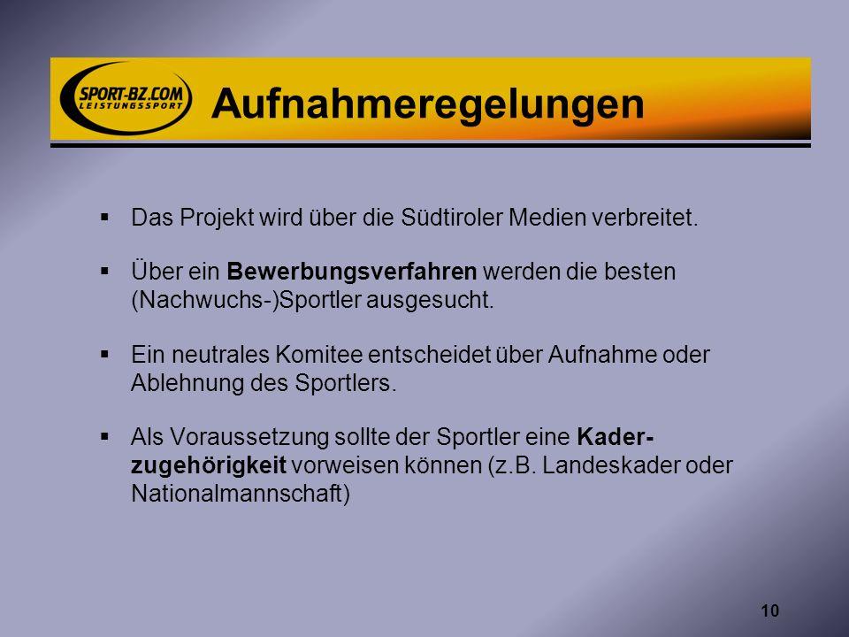 Aufnahmeregelungen Das Projekt wird über die Südtiroler Medien verbreitet. Über ein Bewerbungsverfahren werden die besten (Nachwuchs-)Sportler ausgesu