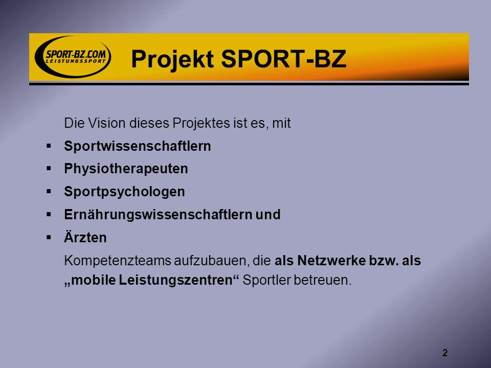 Lückenlose Betreuung Sportartspezifischer Trainer + SPORT-BZ = KOMPLETTE BETREUUNG Die professionelle Zusammenarbeit zwischen sportartspezifischen Trainern und dem Kompetenzteam SPORT-BZ ist die Grundlage des Projektes.