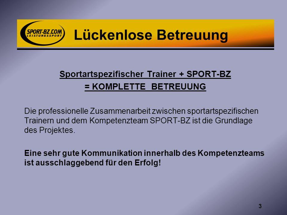Lückenlose Betreuung Sportartspezifischer Trainer + SPORT-BZ = KOMPLETTE BETREUUNG Die professionelle Zusammenarbeit zwischen sportartspezifischen Tra
