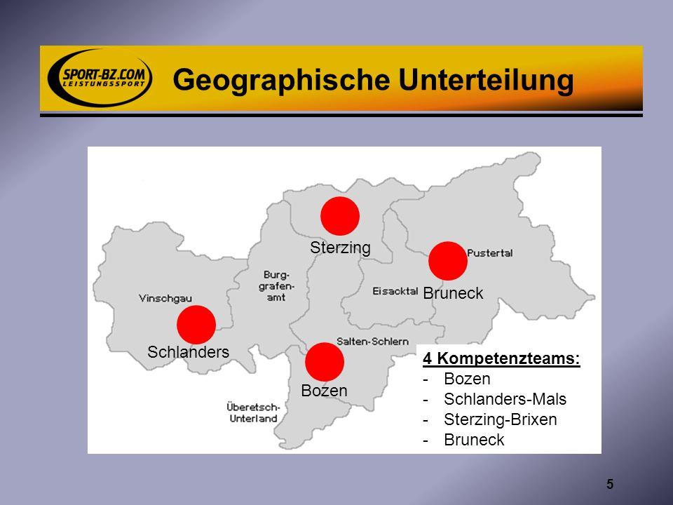 Geographische Unterteilung Bozen Schlanders Bruneck Sterzing 4 Kompetenzteams: -Bozen -Schlanders-Mals -Sterzing-Brixen -Bruneck 5