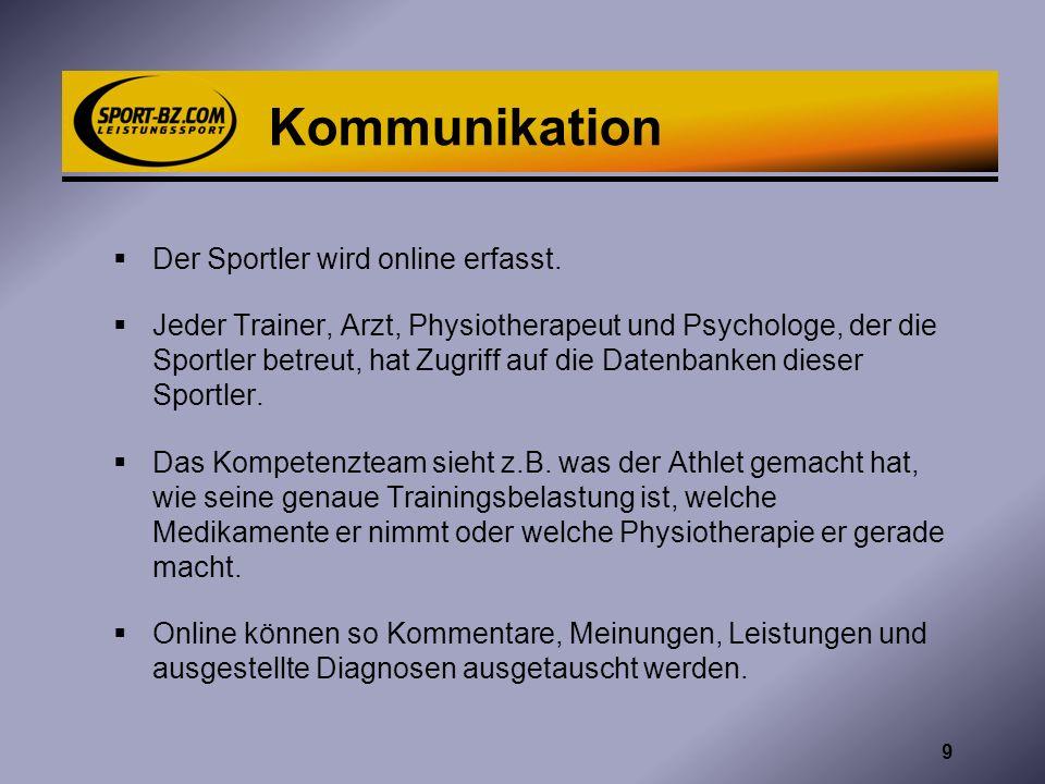 Kommunikation Der Sportler wird online erfasst. Jeder Trainer, Arzt, Physiotherapeut und Psychologe, der die Sportler betreut, hat Zugriff auf die Dat