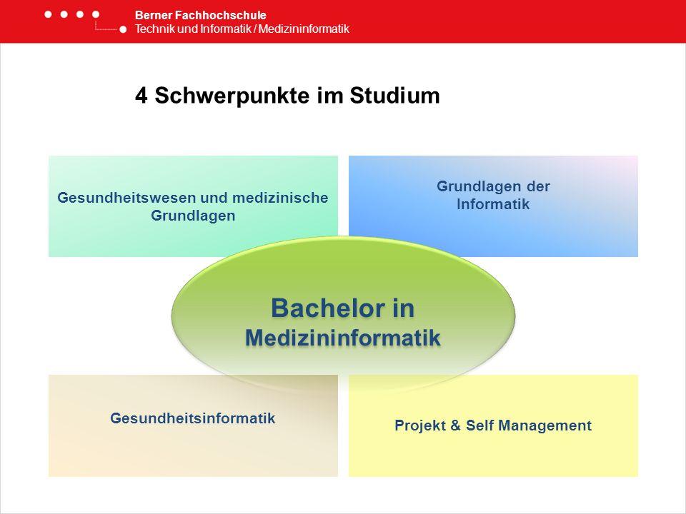 4 Schwerpunkte im Studium Berner Fachhochschule Technik und Informatik / Medizininformatik Gesundheitswesen und medizinische Grundlagen Grundlagen der