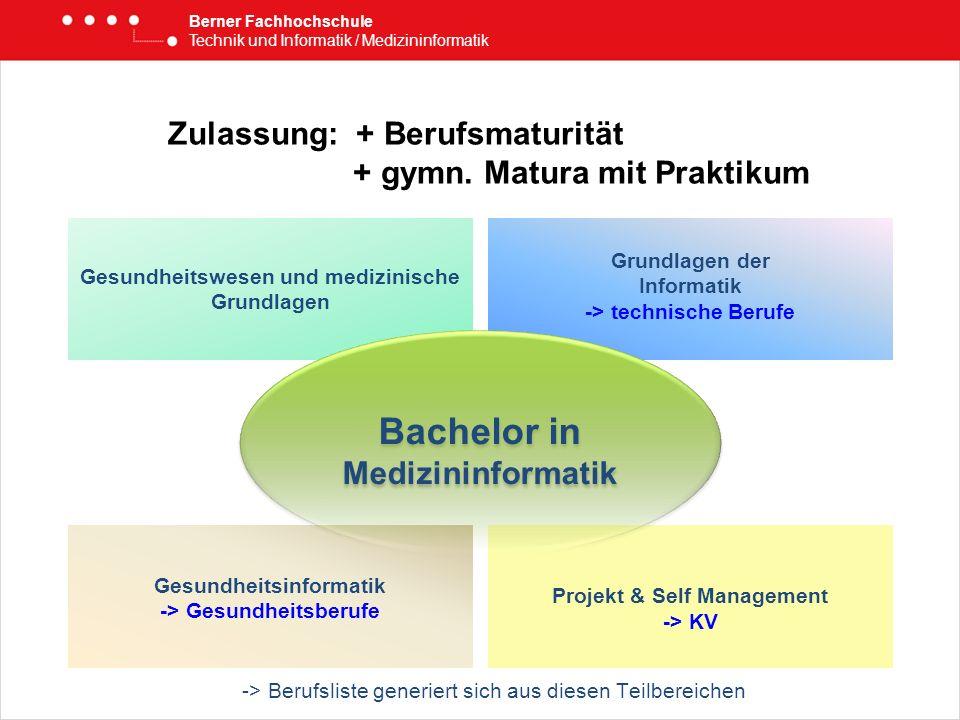 Zulassung: + Berufsmaturität + gymn. Matura mit Praktikum Berner Fachhochschule Technik und Informatik / Medizininformatik Gesundheitswesen und medizi