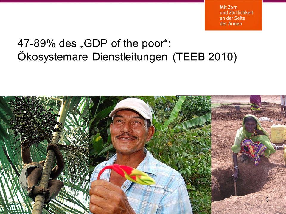 47-89% des GDP of the poor: Ökosystemare Dienstleitungen (TEEB 2010) 3