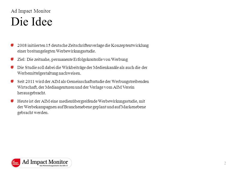 Ad Impact Monitor Die Idee 2008 initiierten 15 deutsche Zeitschriftenverlage die Konzeptentwicklung einer breitangelegten Werbewirkungsstudie. Ziel: D