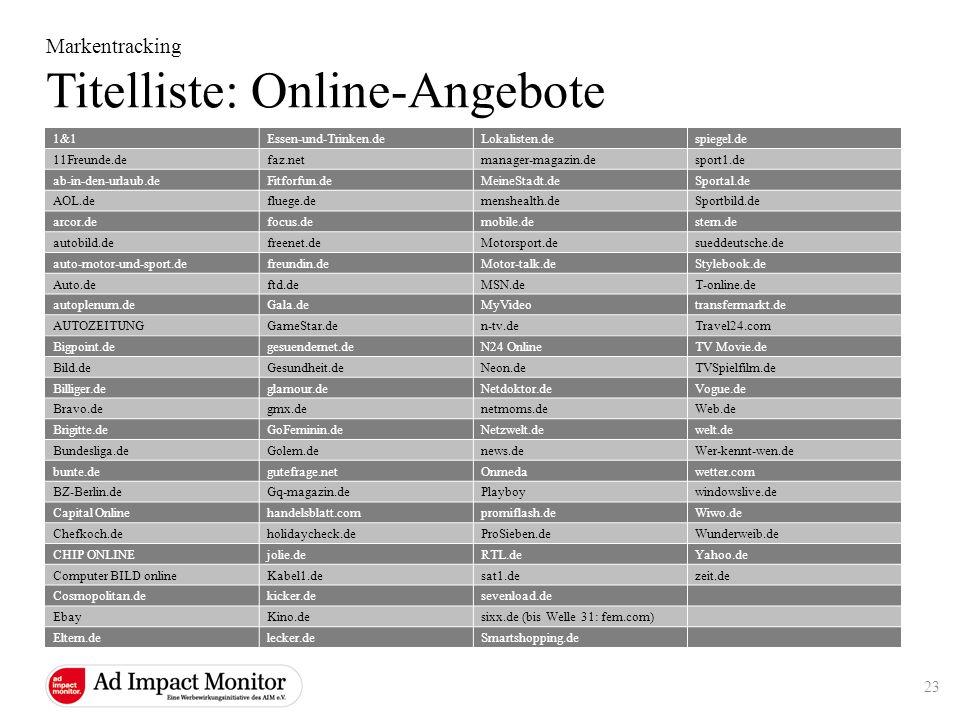 Markentracking Titelliste: Online-Angebote 1&1Essen-und-Trinken.deLokalisten.despiegel.de 11Freunde.defaz.netmanager-magazin.desport1.de ab-in-den-url