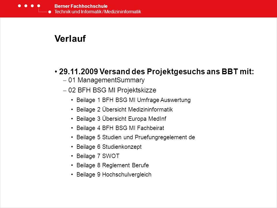 Verlauf 29.11.2009 Versand des Projektgesuchs ans BBT mit: 01 ManagementSummary 02 BFH BSG MI Projektskizze Beilage 1 BFH BSG MI Umfrage Auswertung Be