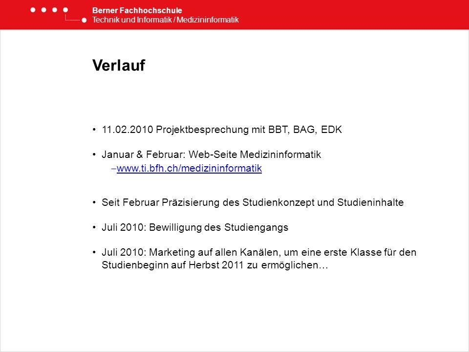 Verlauf 11.02.2010 Projektbesprechung mit BBT, BAG, EDK Januar & Februar: Web-Seite Medizininformatik www.ti.bfh.ch/medizininformatik Seit Februar Prä