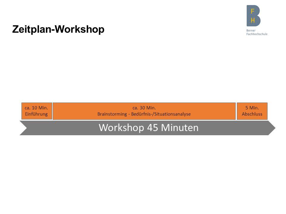 Zeitplan-Workshop ca. 10 Min. Einführung Workshop 45 Minuten ca. 30 Min. Brainstorming - Bedürfnis-/Situationsanalyse 5 Min. Abschluss
