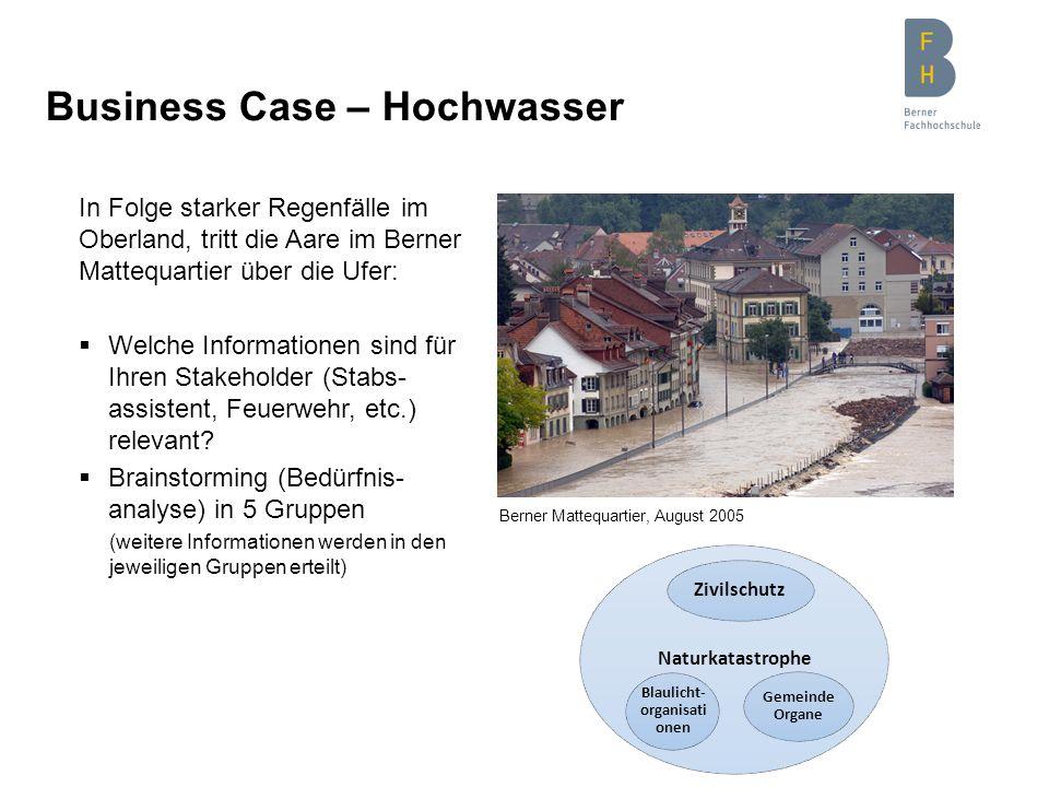 Business Case – Hochwasser In Folge starker Regenfälle im Oberland, tritt die Aare im Berner Mattequartier über die Ufer: Welche Informationen sind fü