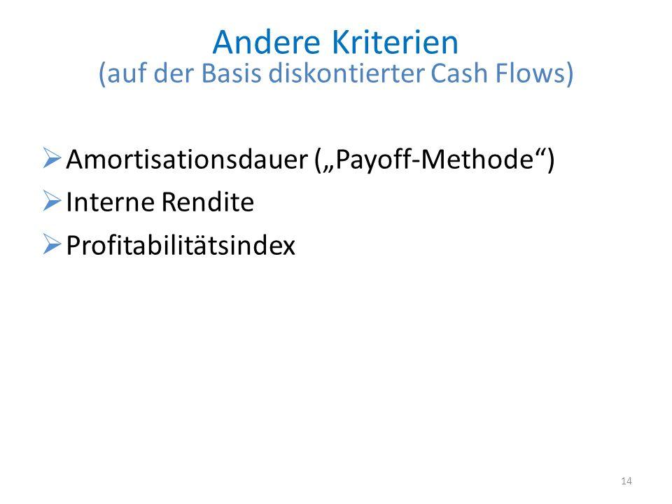 Andere Kriterien (auf der Basis diskontierter Cash Flows) Amortisationsdauer (Payoff-Methode) Interne Rendite Profitabilitätsindex 14