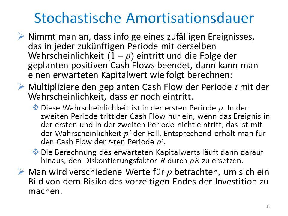 Stochastische Amortisationsdauer Nimmt man an, dass infolge eines zufälligen Ereignisses, das in jeder zukünftigen Periode mit derselben Wahrscheinlic