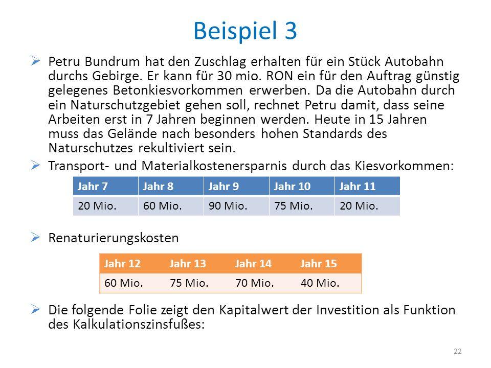 Beispiel 3 Petru Bundrum hat den Zuschlag erhalten für ein Stück Autobahn durchs Gebirge. Er kann für 30 mio. RON ein für den Auftrag günstig gelegene