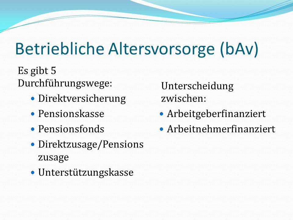 Betriebliche Altersvorsorge (bAv) Es gibt 5 Durchführungswege: Direktversicherung Pensionskasse Pensionsfonds Direktzusage/Pensions zusage Unterstützu