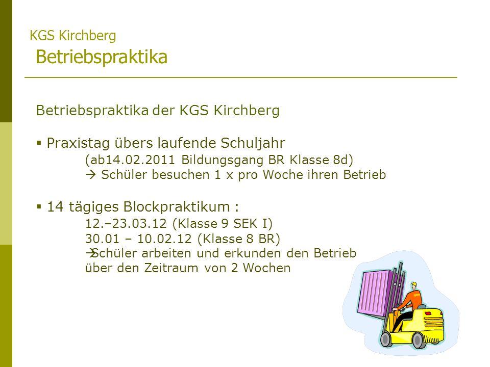 KGS Kirchberg Betriebspraktika Betriebspraktika der KGS Kirchberg Praxistag übers laufende Schuljahr (ab14.02.2011 Bildungsgang BR Klasse 8d) Schüler