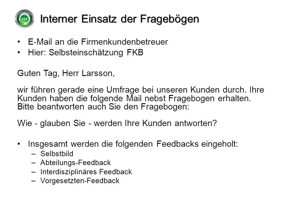Interner Einsatz der Fragebögen E-Mail an die Firmenkundenbetreuer Hier: Selbsteinschätzung FKB Guten Tag, Herr Larsson, wir führen gerade eine Umfrag