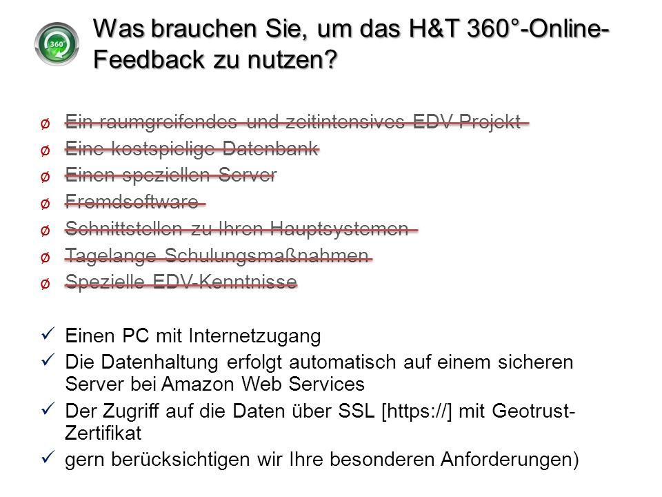 Was brauchen Sie, um das H&T 360°-Online- Feedback zu nutzen? ø Ein raumgreifendes und zeitintensives EDV-Projekt ø Eine kostspielige Datenbank ø Eine