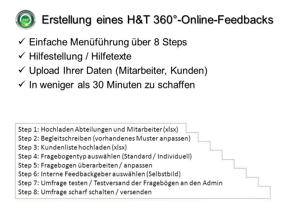 Erstellung eines H&T 360°-Online-Feedbacks Einfache Menüführung über 8 Steps Hilfestellung / Hilfetexte Upload Ihrer Daten (Mitarbeiter, Kunden) In we