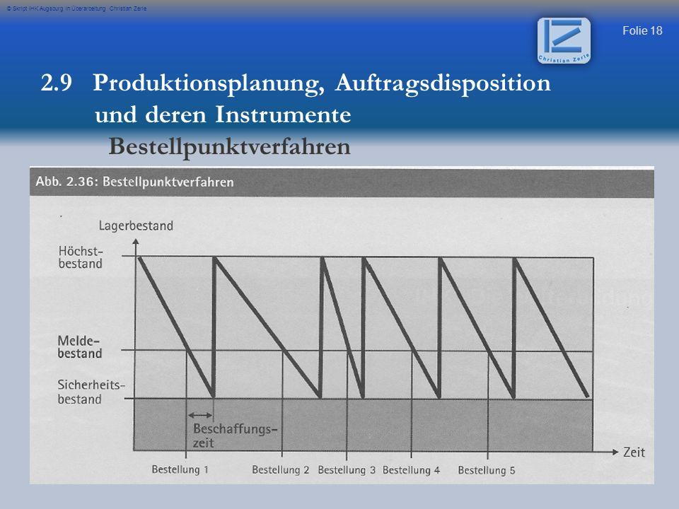 Folie 18 © Skript IHK Augsburg in Überarbeitung Christian Zerle 2.9 Produktionsplanung, Auftragsdisposition und deren Instrumente Bestellpunktverfahre