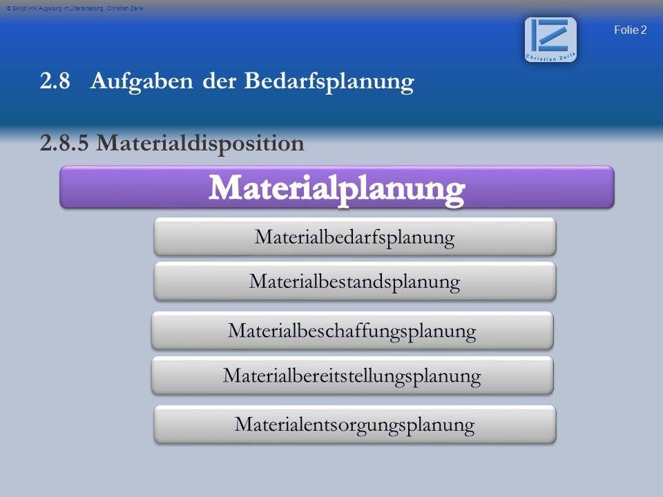 Folie 2 © Skript IHK Augsburg in Überarbeitung Christian Zerle Materialbedarfsplanung Materialbestandsplanung Materialbeschaffungsplanung Materialbere