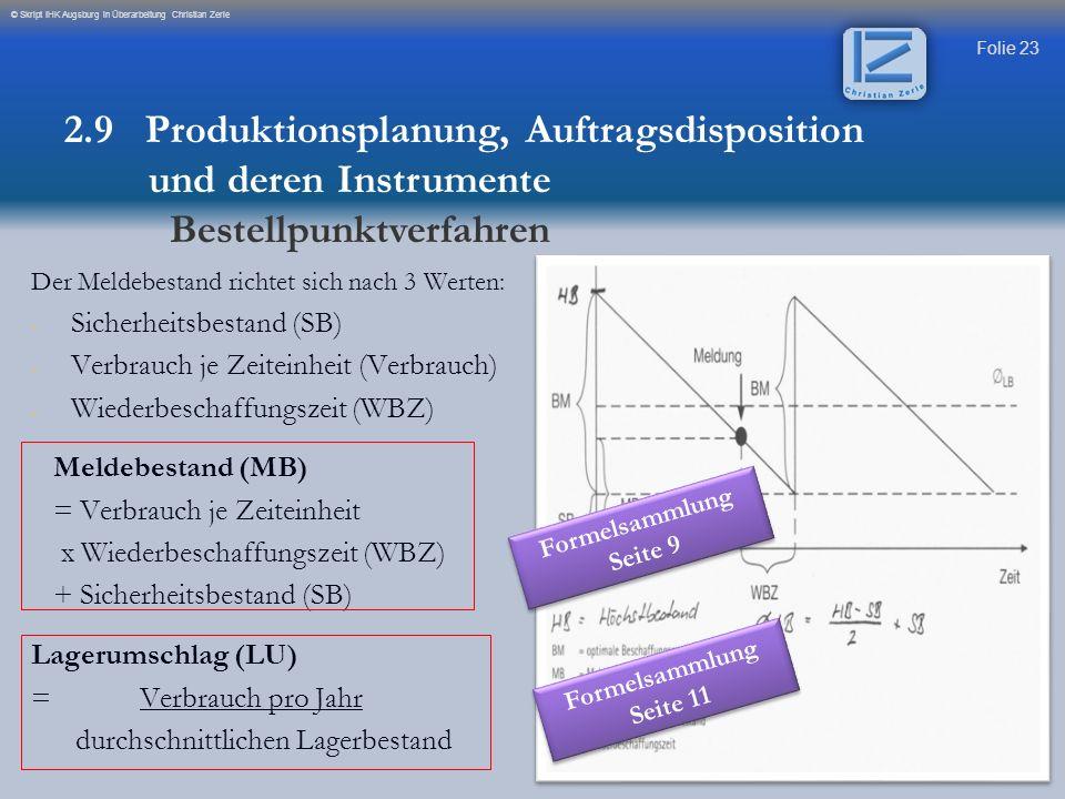 Folie 23 © Skript IHK Augsburg in Überarbeitung Christian Zerle Der Meldebestand richtet sich nach 3 Werten: - - Sicherheitsbestand (SB) - - Verbrauch