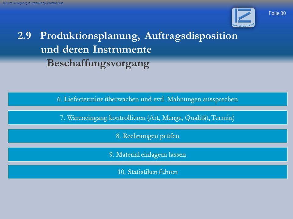 Folie 30 © Skript IHK Augsburg in Überarbeitung Christian Zerle 6. Liefertermine überwachen und evtl. Mahnungen aussprechen 7. Wareneingang kontrollie