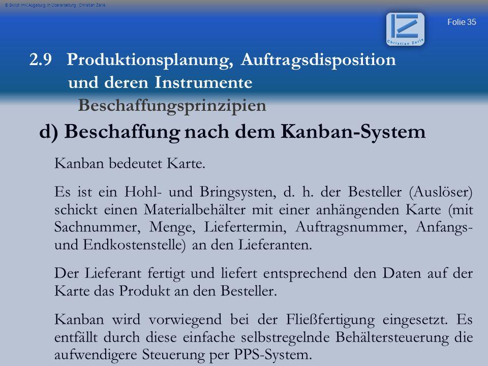 Folie 35 © Skript IHK Augsburg in Überarbeitung Christian Zerle d) Beschaffung nach dem Kanban-System Kanban bedeutet Karte. Es ist ein Hohl- und Brin