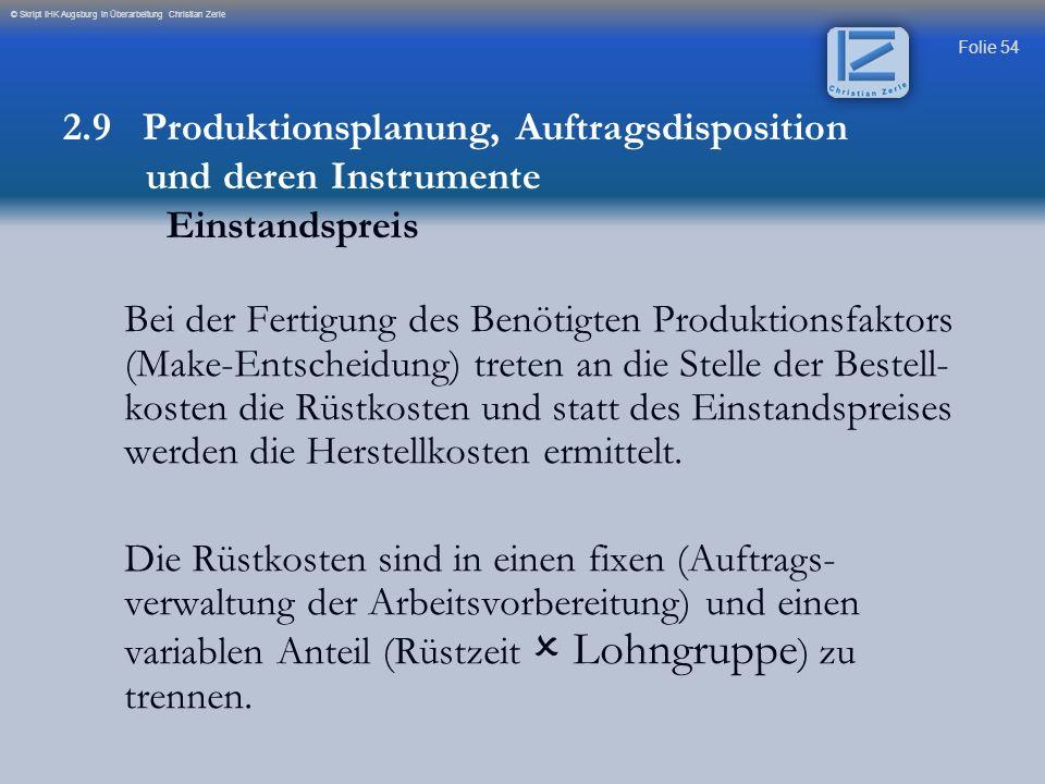 Folie 54 © Skript IHK Augsburg in Überarbeitung Christian Zerle Bei der Fertigung des Benötigten Produktionsfaktors (Make-Entscheidung) treten an die